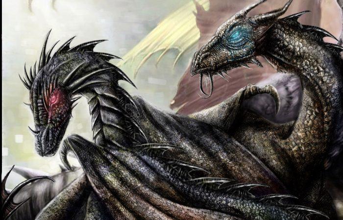 Immagine dei draghi della copertina libro - Illustrazione fantasy tratta da I Guerrieri d'argento - Le Cronache dei 5 Regni - Elvio Ravasio, autore di libri fantasy