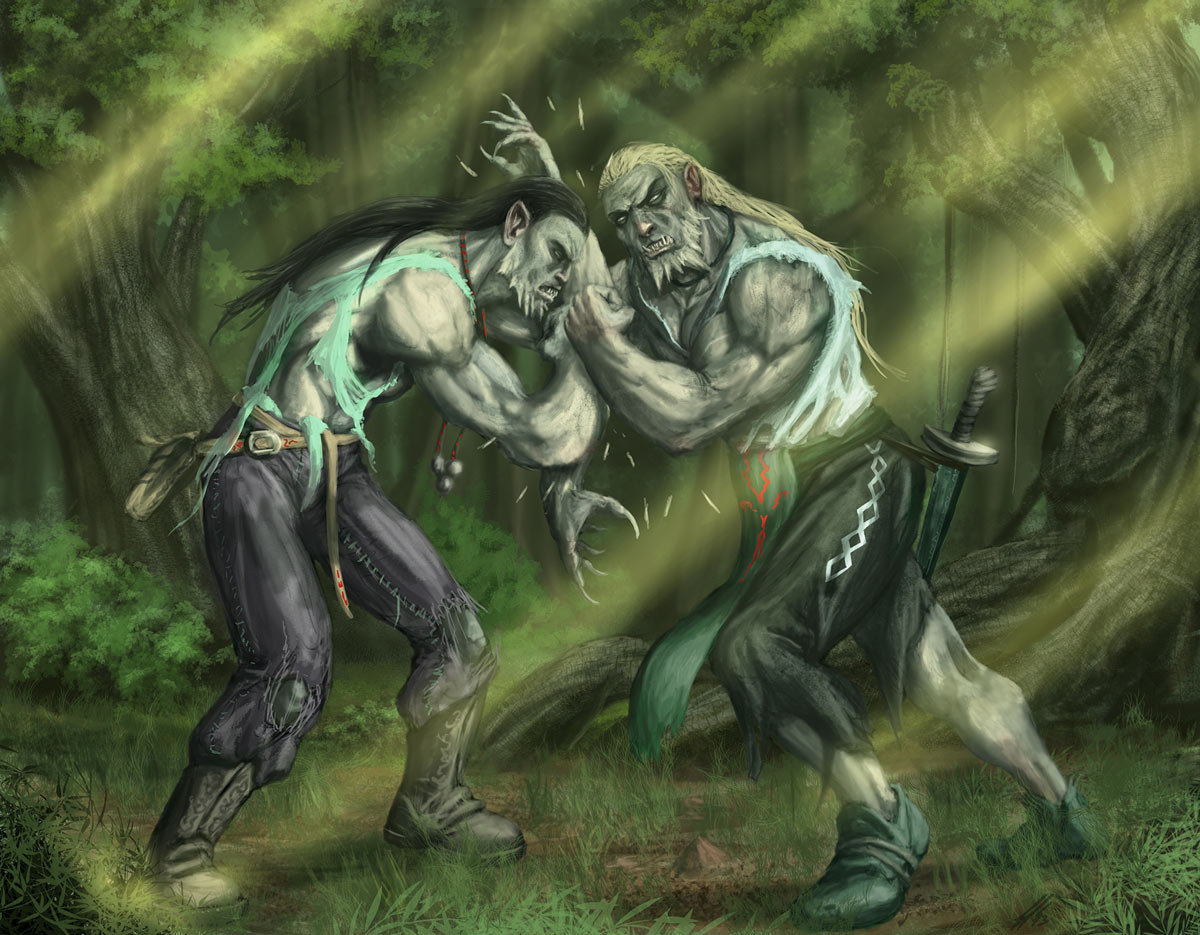 Immagine degli abitanti della palude - Illustrazione fantasy tratta da Ombre dal Passato - Le Cronache dei 5 Regni - Elvio Ravasio, autore di libri fantasy