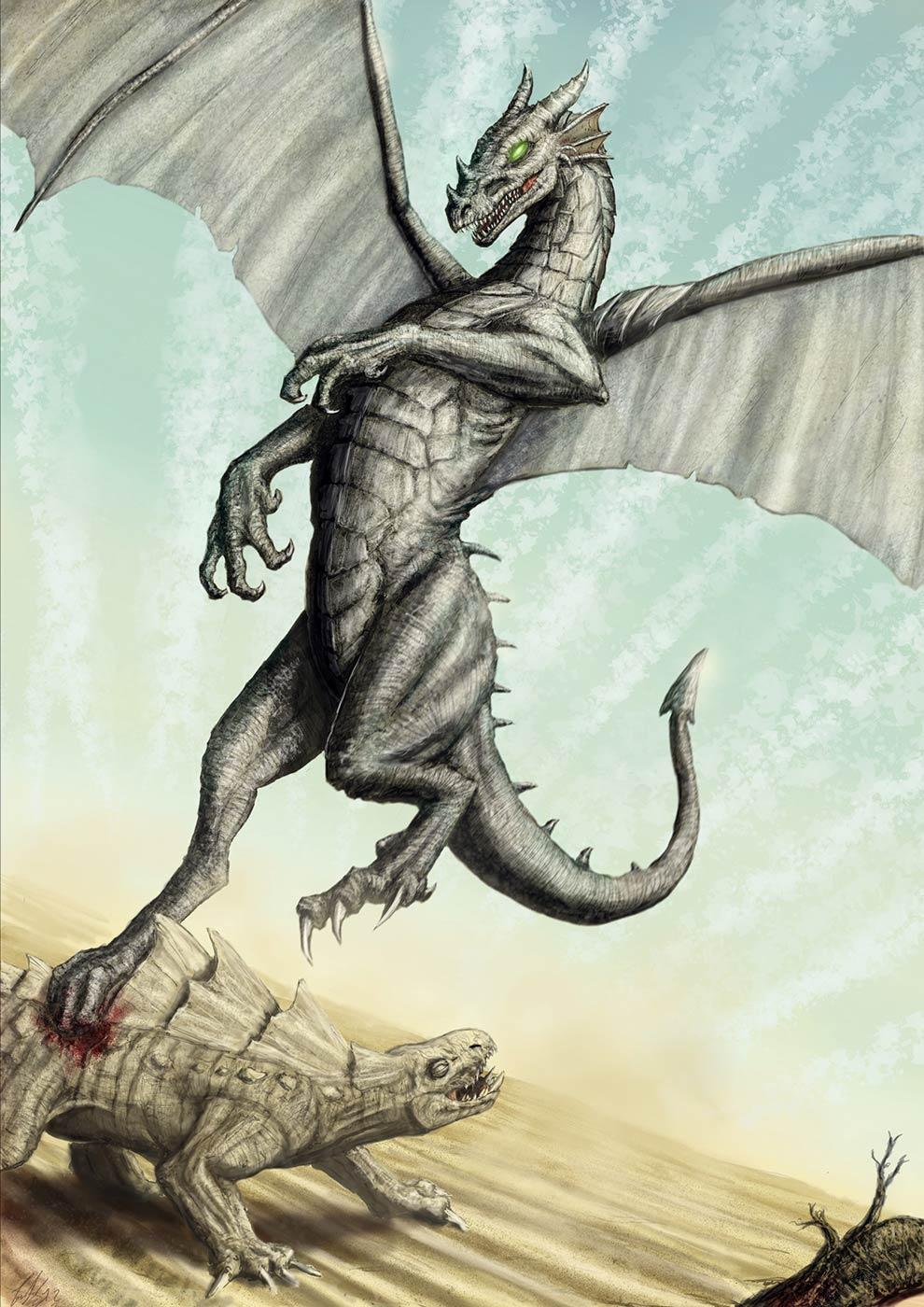 Immagine dell'attacco del drago - Illustrazione fantasy tratta da Altèra - Le Cronache dei 5 Regni - Elvio Ravasio, autore di libri fantasy