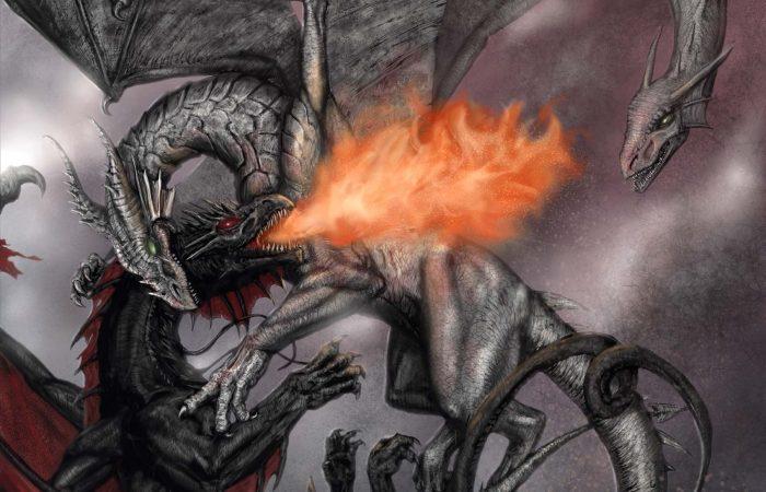 Immagine della battaglia dei draghi - Illustrazione fantasy tratta da I Guerrieri d'argento - Le Cronache dei 5 Regni - Elvio Ravasio, autore di libri fantasy