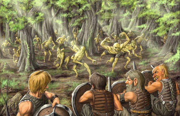 Immagine della battaglia degli omini - Illustrazione fantasy tratta da Altèra - Le Cronache dei 5 Regni - Elvio Ravasio, autore di libri fantasy