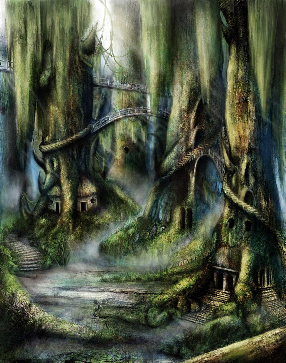 Immagine della città degli emidi - Illustrazione fantasy tratta da I Guerrieri d'argento - Le Cronache dei 5 Regni - Elvio Ravasio, autore di libri fantasy