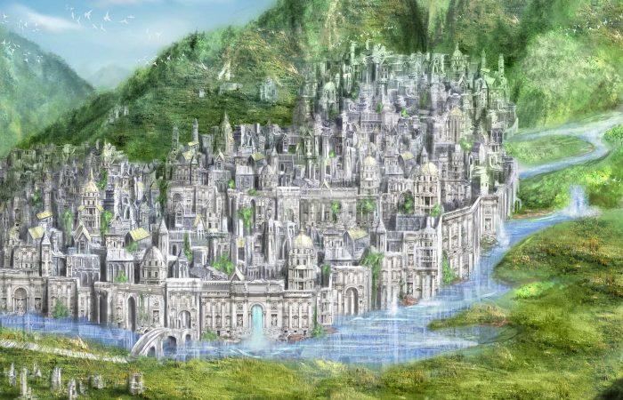 Immagine della città di Kiria - Illustrazione fantasy tratta da Kiria - Le Cronache dei 5 Regni - Elvio Ravasio, autore di libri fantasy