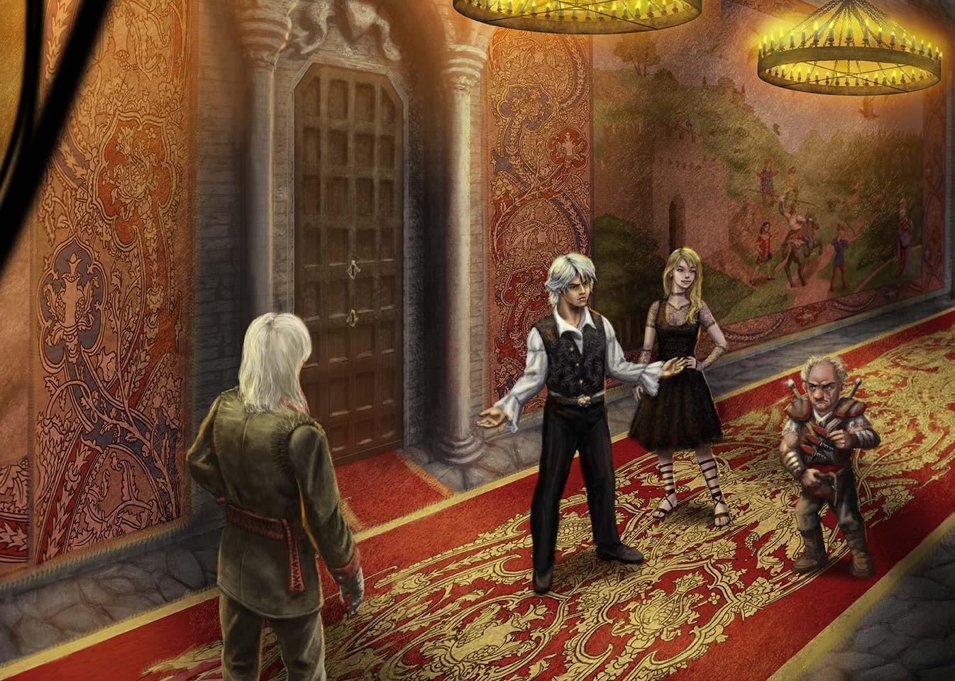 Immagine corridoio a Ilitra - Illustrazione fantasy tratta da Kiria - Le Cronache dei 5 Regni - Elvio Ravasio, autore di libri fantasy