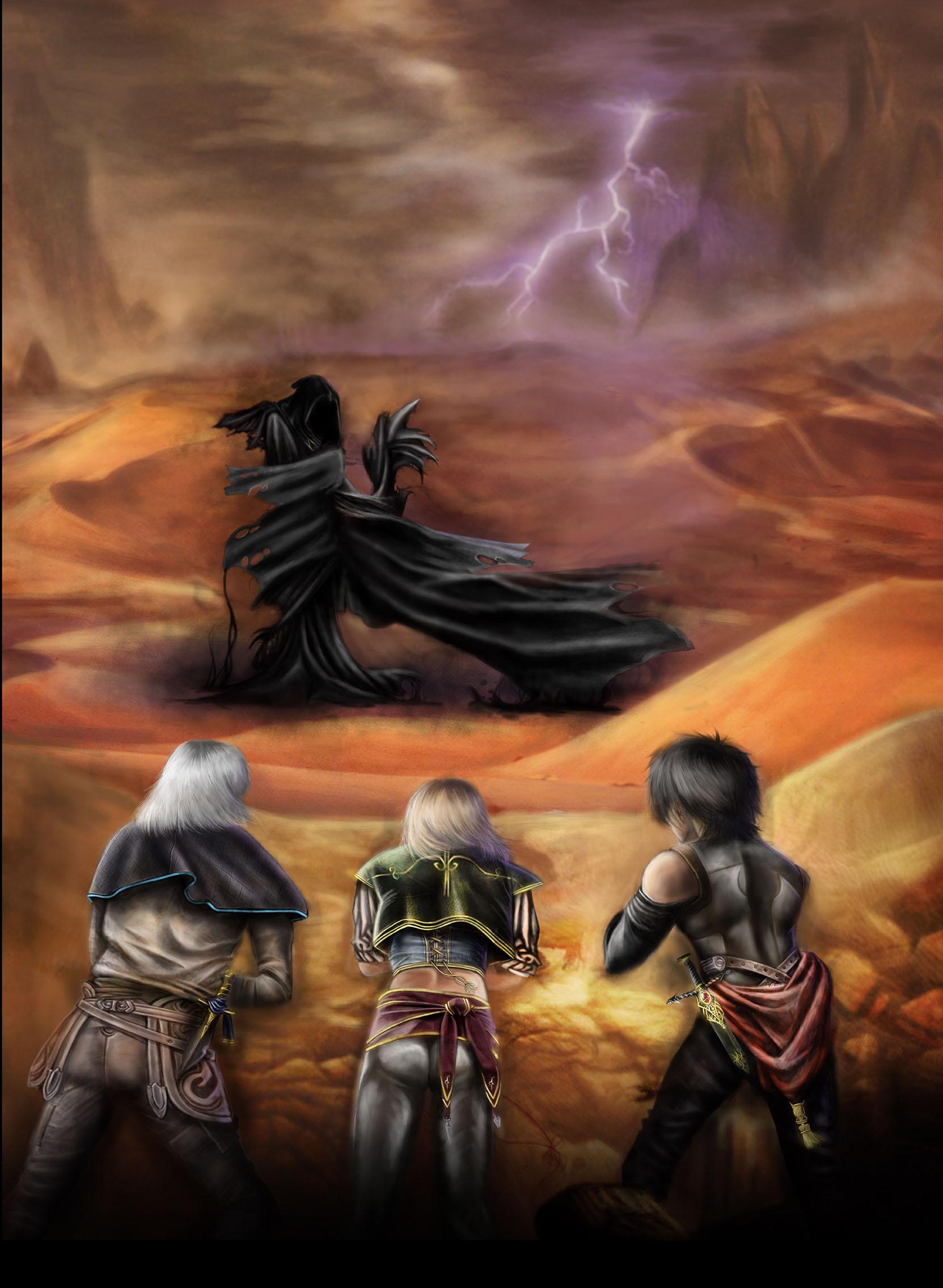 Immagine di Elamar, Nayla e Gotland nel deserto - Illustrazione fantasy tratta da I Guerrieri d'argento - Le Cronache dei 5 Regni - Elvio Ravasio, autore di libri fantasy