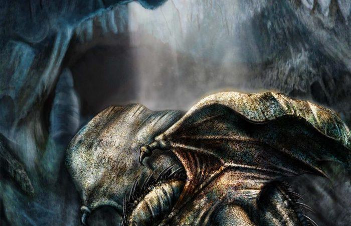 Immagine del drago nella caverna - Illustrazione fantasy tratta da I Guerrieri d'argento - Le Cronache dei 5 Regni - Elvio Ravasio, autore di libri fantasy