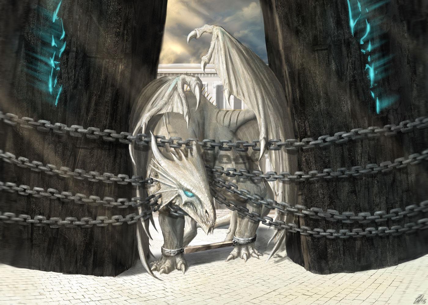 Immagine drago incatenato - Illustrazione fantasy tratta da Kiria - Le Cronache dei 5 Regni - Elvio Ravasio, autore di libri fantasy