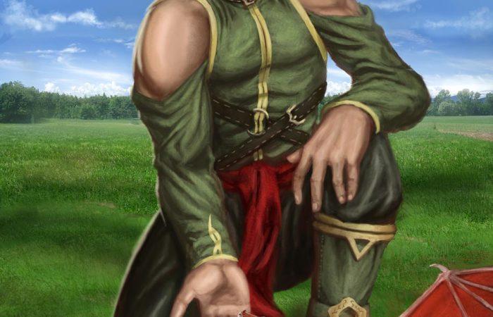 Immagine di Elamar e del piccolo Drago - Illustrazione fantasy tratta da Ombre dal Passato - Le Cronache dei 5 Regni - Elvio Ravasio, autore di libri fantasy