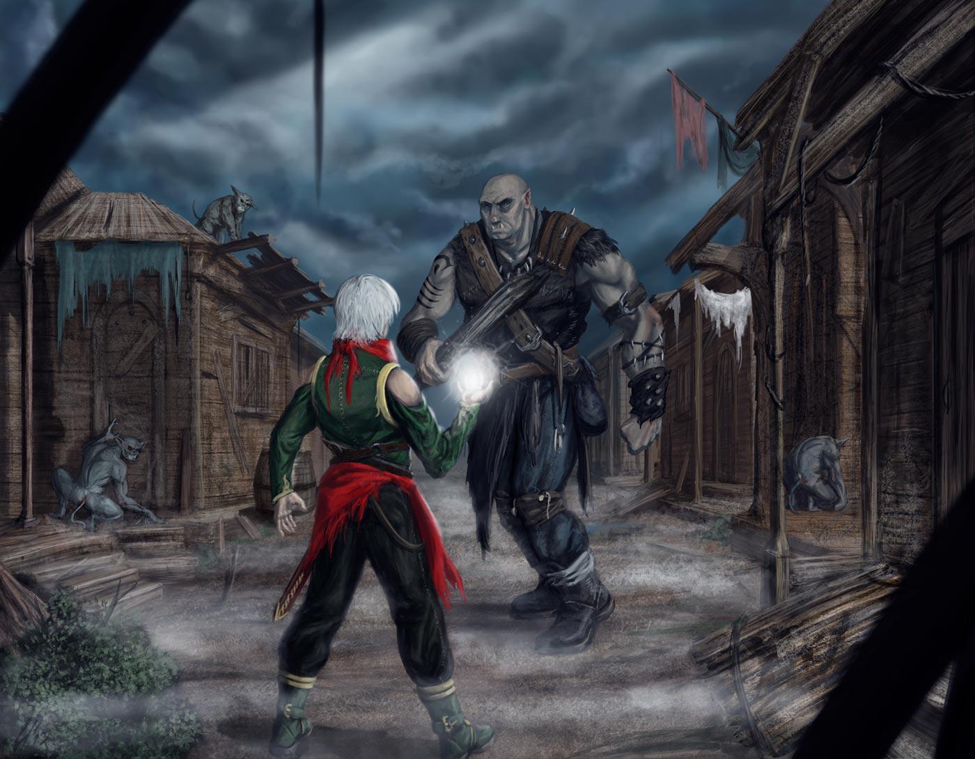 Immagine di Elamar e di un gigante - Illustrazione fantasy tratta da Ombre dal Passato - Le Cronache dei 5 Regni - Elvio Ravasio, autore di libri fantasy