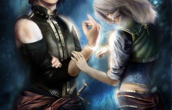 Immagine di Elamar e Nayla - Illustrazione fantasy tratta da I Guerrieri d'argento - Le Cronache dei 5 Regni - Elvio Ravasio, autore di libri fantasy