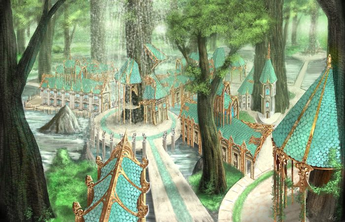 Immagine foresta - Illustrazione fantasy tratta da Kiria - Le Cronache dei 5 Regni - Elvio Ravasio, autore di libri fantasy