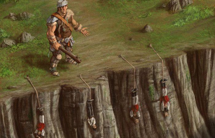 Immagine del gigante buono - Illustrazione fantasy tratta da Ombre dal Passato - Le Cronache dei 5 Regni - Elvio Ravasio, autore di libri fantasy
