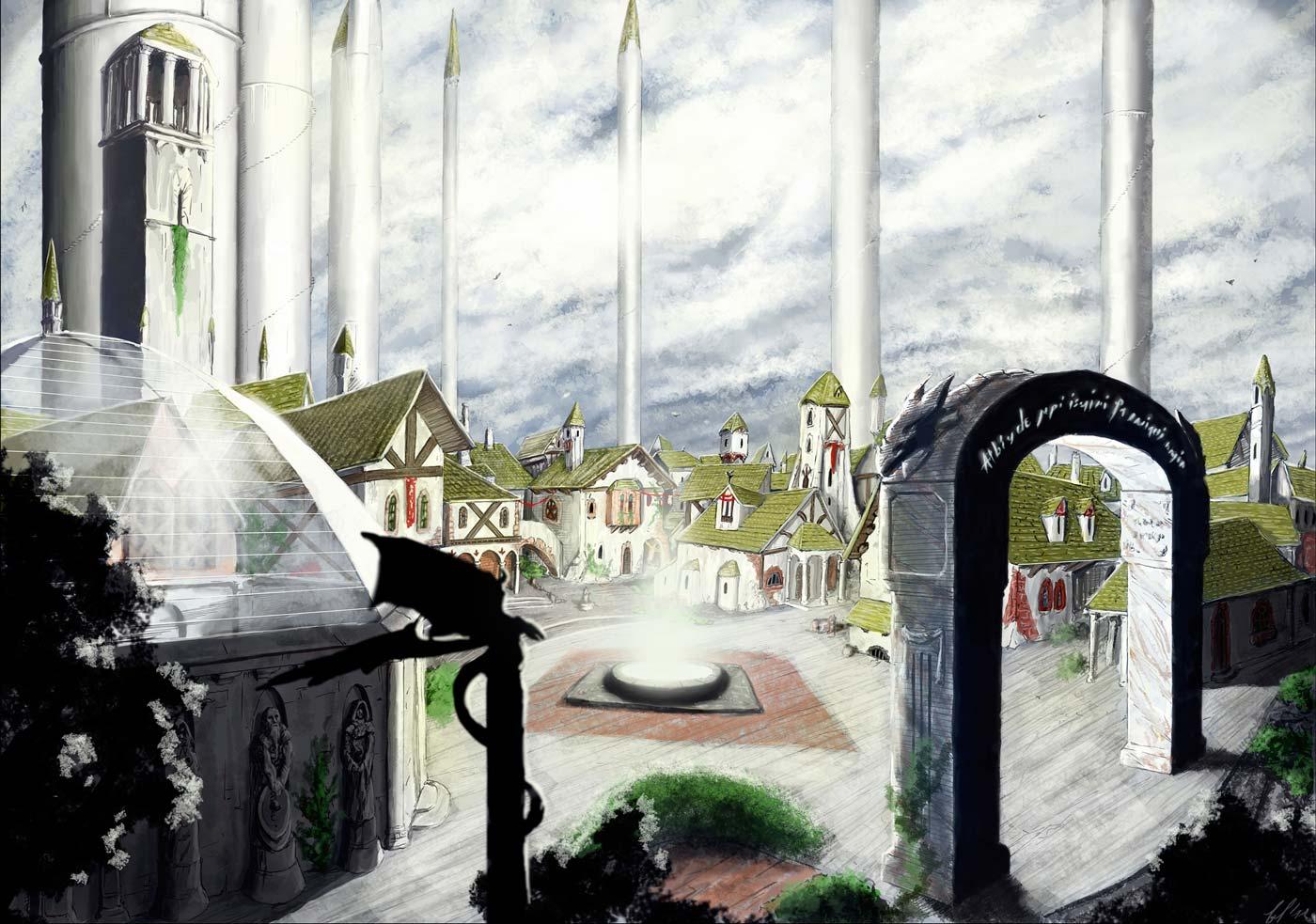Immagine della città di Kardon e delle 7 torri - Illustrazione fantasy tratta da Altèra - Le Cronache dei 5 Regni - Elvio Ravasio, autore di libri fantasy