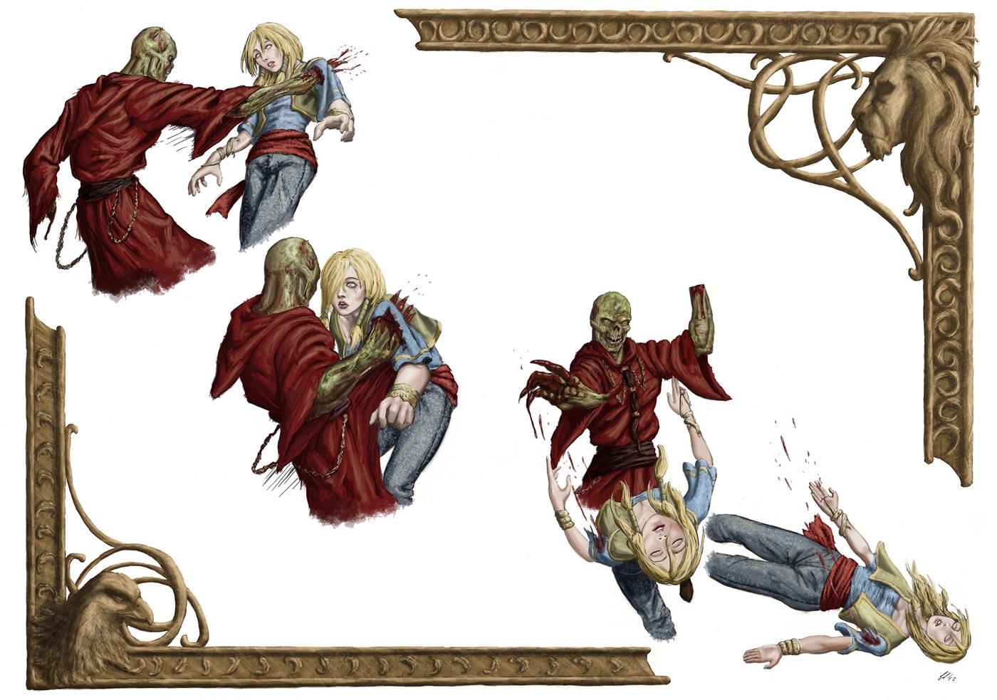 Immagine della ferita di Nayla - Illustrazione fantasy tratta da Altèra - Le Cronache dei 5 Regni - Elvio Ravasio, autore di libri fantasy