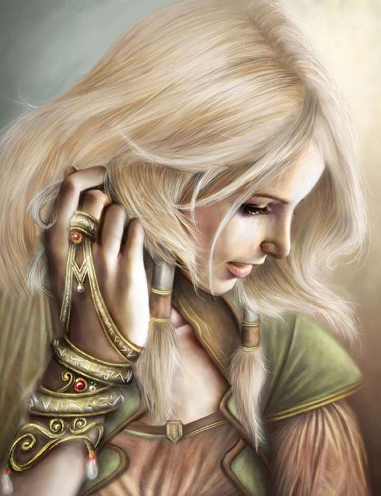 Immagine di Nayla in primo piano - Illustrazione fantasy tratta da I Guerrieri d'argento - Le Cronache dei 5 Regni - Elvio Ravasio, autore di libri fantasy