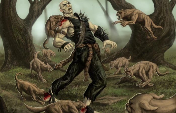 Immagine di Orko e degli azzannatori - Illustrazione fantasy tratta da Ombre dal Passato - Le Cronache dei 5 Regni - Elvio Ravasio, autore di libri fantasy