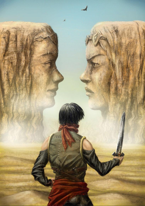 Immagine dei visi nel deserto - Illustrazione fantasy tratta da Altèra - Le Cronache dei 5 Regni - Elvio Ravasio, autore di libri fantasy
