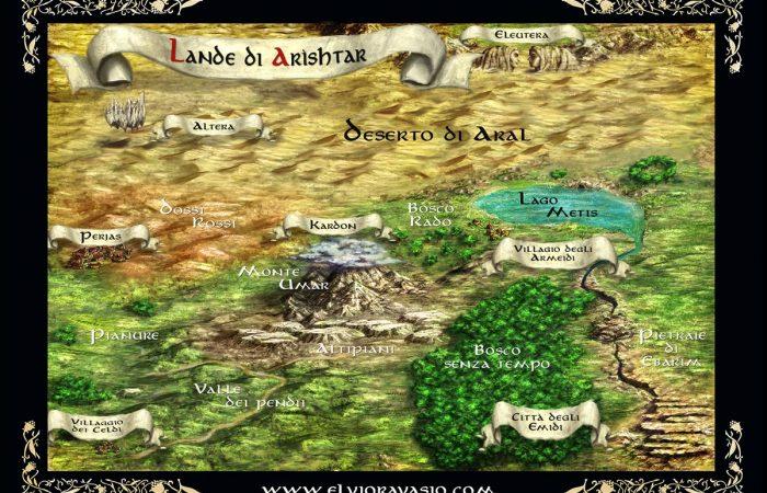 Mappa delle Lande di Arìshtar - Illustrazione fantasy tratta dalla saga Le Cronache dei 5 Regni - Elvio Ravasio, autore di libri fantasy