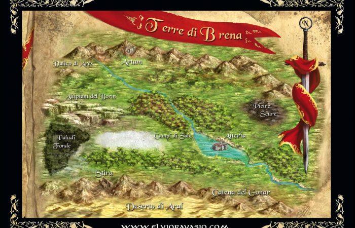 Mappa delle Terre di Brena - Illustrazione fantasy tratta dalla saga Le Cronache dei 5 Regni - Elvio Ravasio, autore di libri fantasy