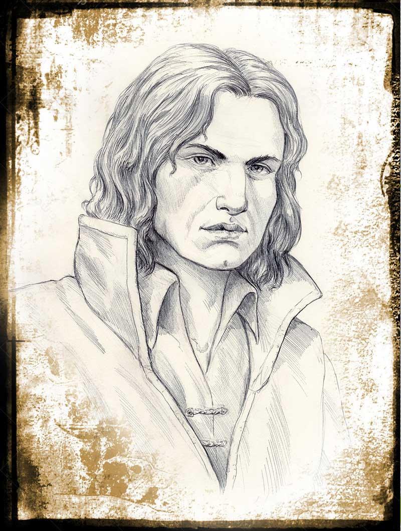 Immagine Mago Cornice - Illustrazione fantasy - Medioevo - Elvio Ravasio, autore di libri fantasy